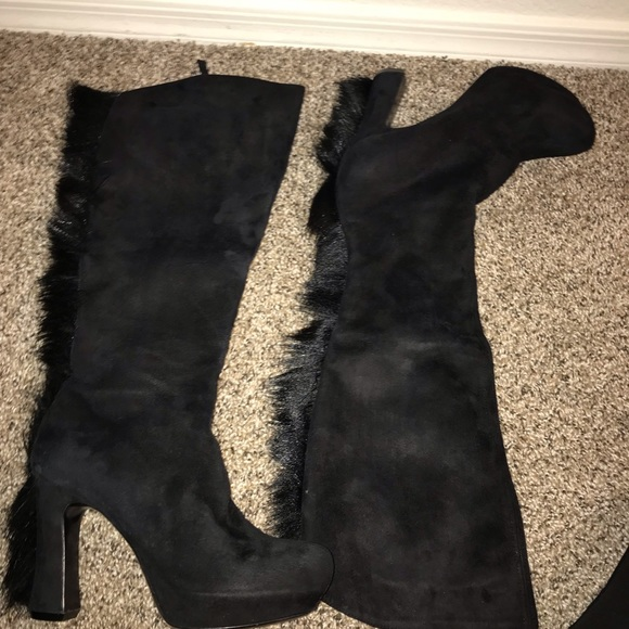 Yves Saint Laurent Shoes - Women s ysl black suede over the knee boots 4d4bff146